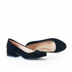 Yuvarlak Burunlu Siyah Süet Kadın Ayakkabı 7070