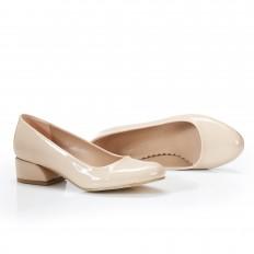 Yuvarlak Burunlu Ten Rugan Kadın Ayakkabı 7070