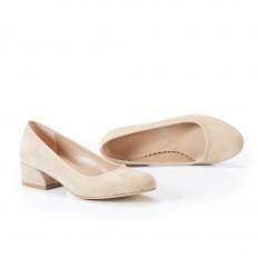 Yuvarlak Burunlu Ten Süet Kadın Ayakkabı 7070