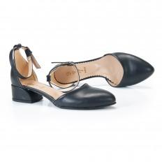 Bilekten Bağlı Siyah Babet Ayakkabı 4042