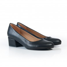 Yuvarlak Burunlu Topuklu  Siyah Kadın Ayakkabı 7080