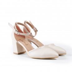 Bilekten Bağlı Ten Rengi Bayan Ayakkabı 4010