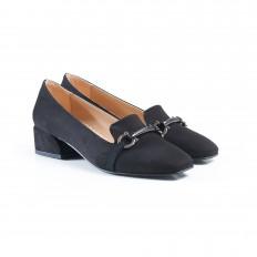 Tokalı Siyah Süet Bayan Babet Ayakkabı 7011