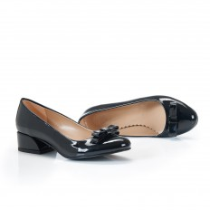 Fiyonklu Siyah Rugan Kadın Babet Ayakkabı 7048