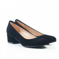Yuvarlak Burunlu Siyah Süet Kadın Ayakkabı 7080