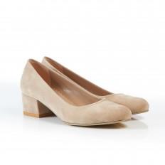 Yuvarlak Burunlu Ten Süet Kadın Ayakkabı 7080