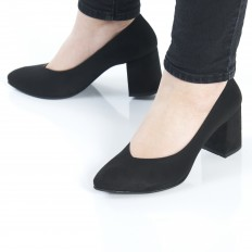 Kalın Topuklu Siyah Süet Stiletto Ayakkabı 9920