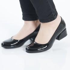 Yuvarlak Burunlu Siyah Rugan Kadın Ayakkabı 7070