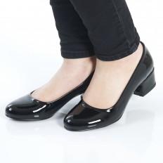 Yuvarlak Burunlu Siyah Rugan Kadın Ayakkabı 7080
