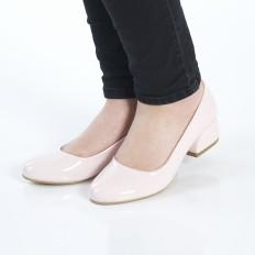Yuvarlak Burunlu Pudra Rugan Kadın Ayakkabı 7070