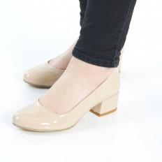 Yuvarlak Burunlu Ten Rugan Kadın Ayakkabı 7080