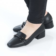 Tokalı Siyah Bayan Babet Ayakkabı 7011