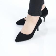 Siyah Süet İnce Topuklu Klasik Bayan Ayakkabı 9011
