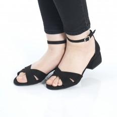 Kısa Topuklu Siyah Süet Sandalet 5059