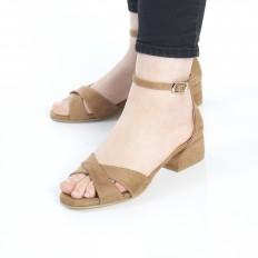 Kısa Topuklu Camel Süet Sandalet 5059