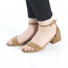 Topuklu  Camel Süet Sandalet 5055