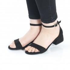 Topuklu  Siyah Süet Sandalet 5055