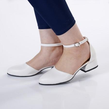 Bilekten Bağlı Beyaz Babet Ayakkabı 4042