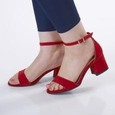 Kırmızı Süet Bayan Sandalet 5050