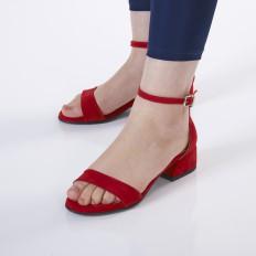 Kırmızı Süet Kadın Sandalet 5055