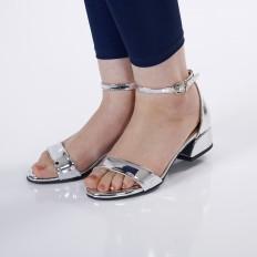 Kısa Topuklu Gümüş Kadın Sandalet 5055