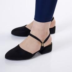 Kısa Topuklu Siyah Süet  Ayakkabı 4030